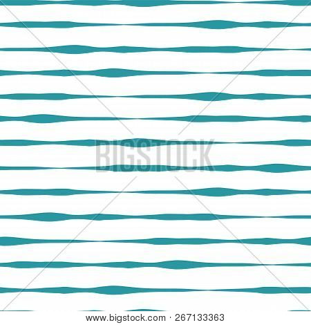 Horizontal Hand Drawn Lines Seamless Vector Background. Teal Hand Drawn Horizontal Strokes In Rows O
