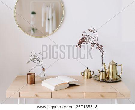 Home Interior With Decor Element. Scandinavian Minimal  Interior. Interior Design Elements. Flat Lay
