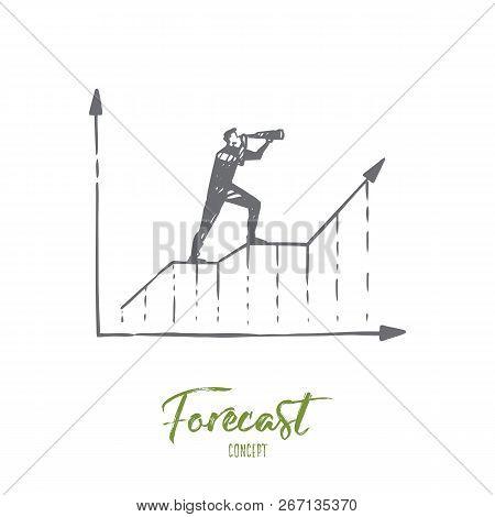 Forecast, Graph, Growth, Progress, Diagram Concept. Hand Drawn Businessman Looking Through Spyglass