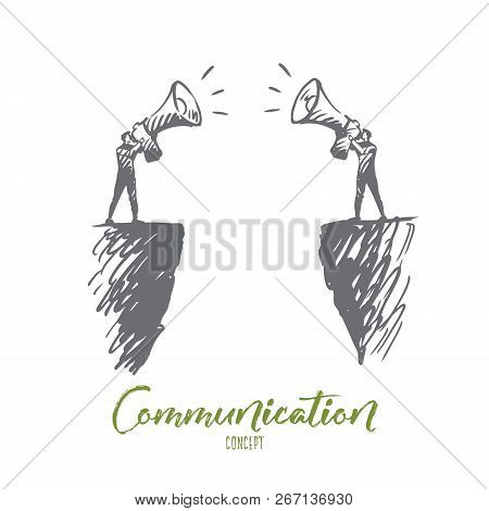 Communication, People, Two, Talk, Megaphone Concept. Hand Drawn Two Persons Communicate With Megapho