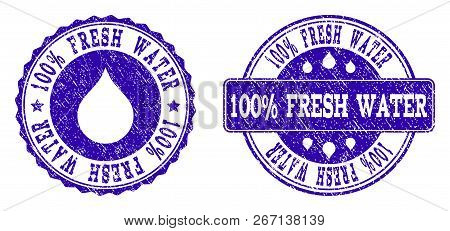 Grunge 100 Fresh Water Stamp Seal Watermarks. 100 Fresh Water Text Inside Blue Scratched Rubber Seal