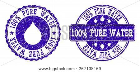 Grunge 100 Pure Water Stamp Seal Imprints. 100 Pure Water Text Inside Blue Scratched Rubber Seals Wi