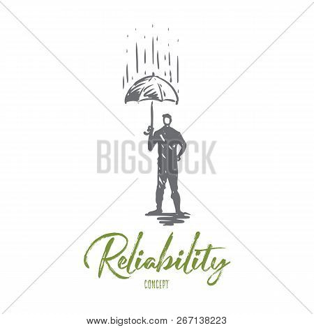 Reliability, Safety, Protect, Safe, Secure Concept. Hand Drawn Person With Umbrella Under Rain Conce