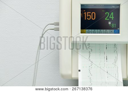 Monitor For Measuring Contractions, Heartbeat Of A Pregnant Woman