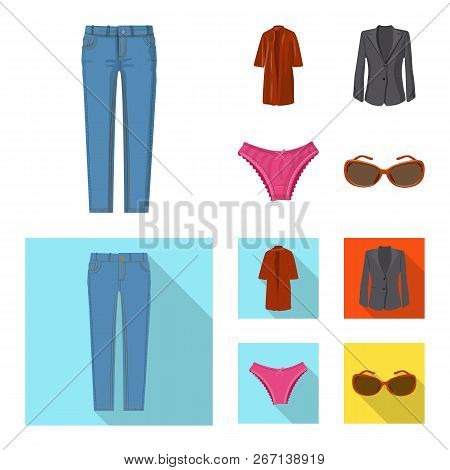 Isolated Object Of Woman And Clothing Sign. Collection Of Woman And Wear Stock Vector Illustration.