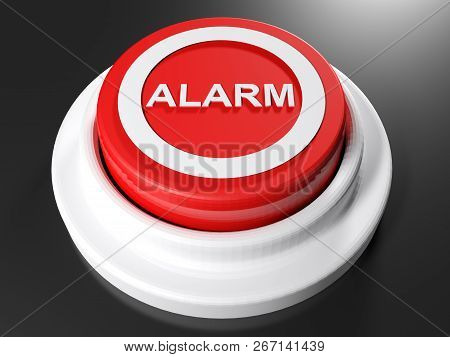 Red Pushbutton Alarm - 3d Rendering Illustration