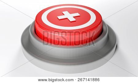 Emergency Pushbutton On A White Surface - 3d Rendering Illustration