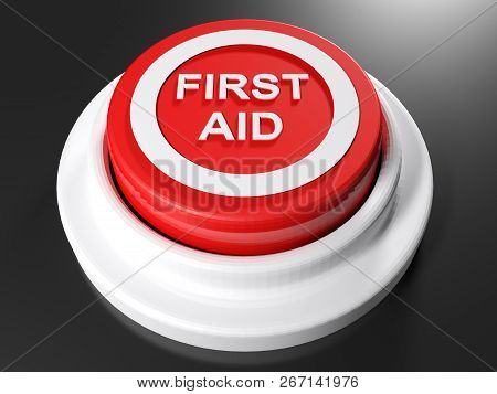 First Aid Pushbutton - 3d Rendering Illustration