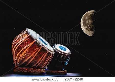 Ethnic Musical Instrument Tabla On The Night Sky Background