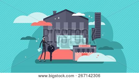 Real Estate Concept Flat Vector Illustration. Abstract Buildings With Sales Agent. Office Or Commerc