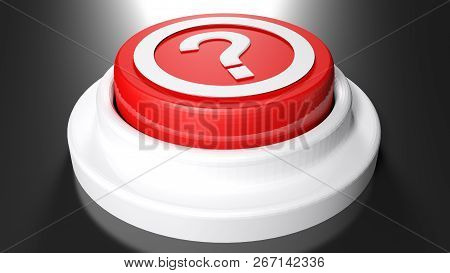 Question Mark Red Pushbutton - 3d Rendering Illustration