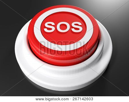 Sos Red Pushbutton - 3d Rendering Illustration