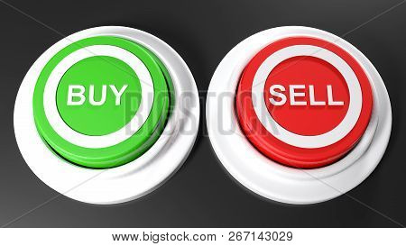 Pushbuttons To Buy And Sell - 3d Rendering Illustration