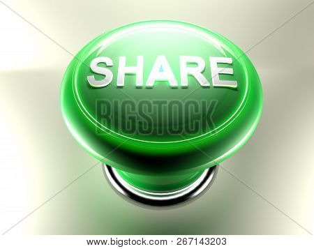 Share Green Pushbutton - 3d Rendering Illustration