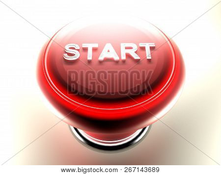 Red Pushbutton To Start - 3d Rendering Illustration