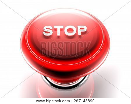 Red Pushbutton To Stop - 3d Rendering Illustration