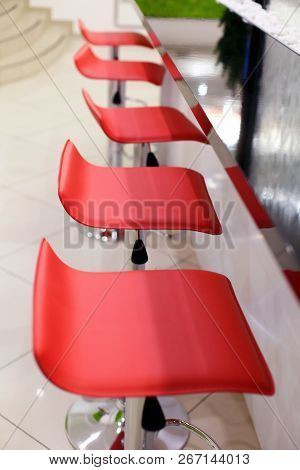 Comfortable Chairs With A Leather Seat In The Restaurant. Bar