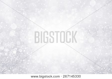 Modern Fancy Silver White Glitter Sparkle Background For Happy Birthday Party Invite, Christmas Ice
