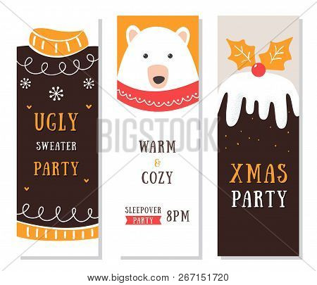 Christmas Flyers, Cards And Invitations. Ugly Sweater And Slumber Party