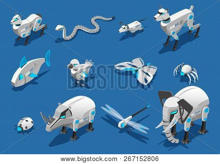 Animal Robots Isometric Icons Set With  Pets Companions Automated Birds Dragonflies Insects Spider E