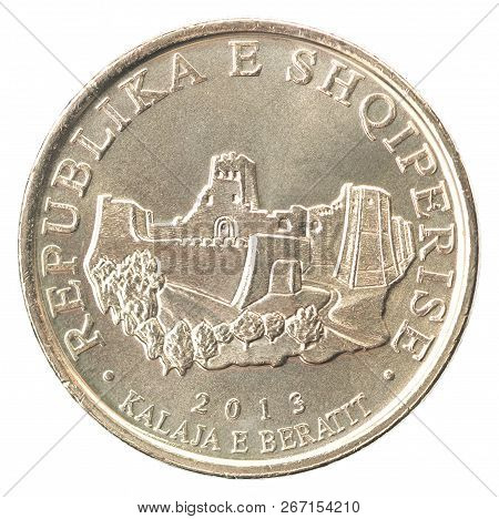 Coin Of The Ten Albanian Lek With The Image Of The Fortress In Berat Isolated On White Background