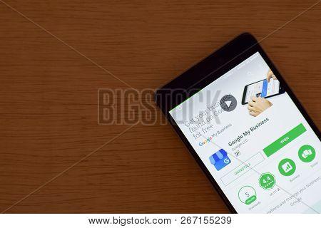 Bekasi, West Java, Indonesia. November 6, 2018 : Google My Business Dev App With Magnifying On Smart