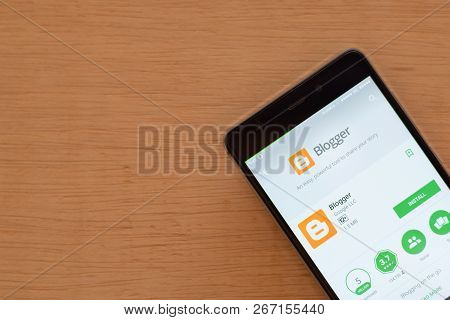 Bekasi, West Java, Indonesia. November 6, 2018 : Blogger Dev App With Magnifying On Smartphone Scree