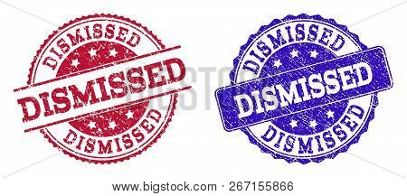 Grunge Dismissed Seal Stamps In Blue And Red Colors. Stamps Have Distress Texture. Vector Rubber Imi
