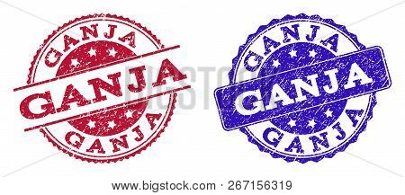 Grunge Ganja Seal Stamps In Blue And Red Colors. Stamps Have Draft Style. Vector Rubber Imitation Wi