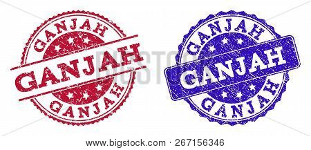 Grunge Ganjah Seal Stamps In Blue And Red Colors. Stamps Have Draft Surface. Vector Rubber Imitation
