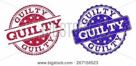 Grunge Guilty Seal Stamps In Blue And Red Colors. Stamps Have Draft Texture. Vector Rubber Imitation