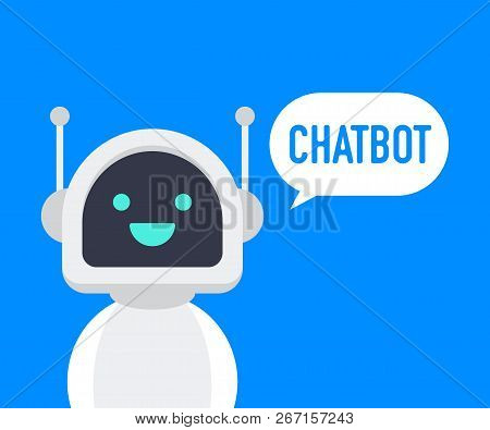 Chatbot Icon. Cute Smiling Robot, Chat Bot Say Hi.vector Modern Flat Cartoon Character Illustration.