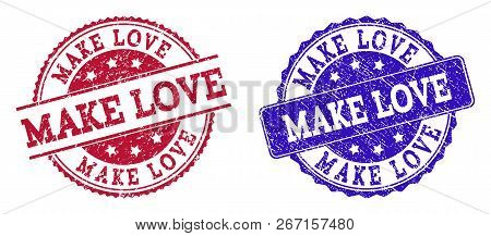 Grunge Make Love Seal Stamps In Blue And Red Colors. Stamps Have Distress Style. Vector Rubber Imita
