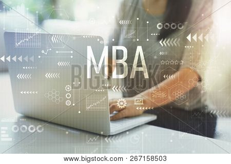 MBA with woman using her laptop in her home office poster