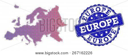 Halftone Dot Map Of Europe And Blue Unclean Seal Stamp. Vector Halftone Map Of Europe Designed With