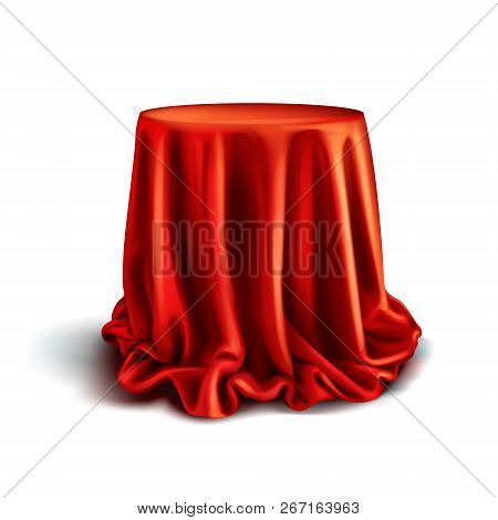 Vector Realistic Box Covered With Red Silk Cloth Isolated On White Background. Empty Stand Or Table