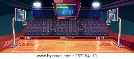 Basketball court with wooden floor, scoreboard on ceiling and empty fan sector seats cartoon vector illustration. Modern indoor stadium illuminated with spotlights. Sports arena or hall for team games poster