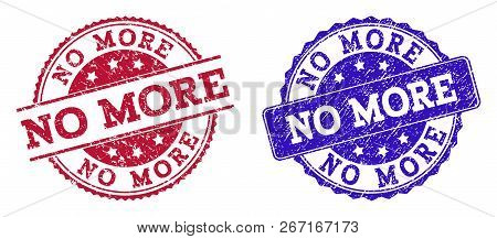 Grunge No More Seal Stamps In Blue And Red Colors. Stamps Have Distress Style. Vector Rubber Imitati