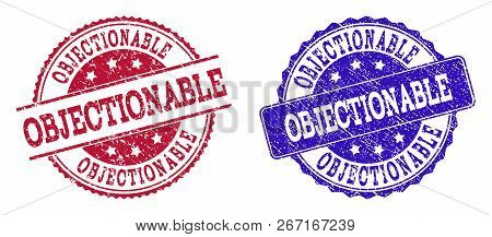 Grunge Objectionable Seal Stamps In Blue And Red Colors. Stamps Have Draft Style. Vector Rubber Imit