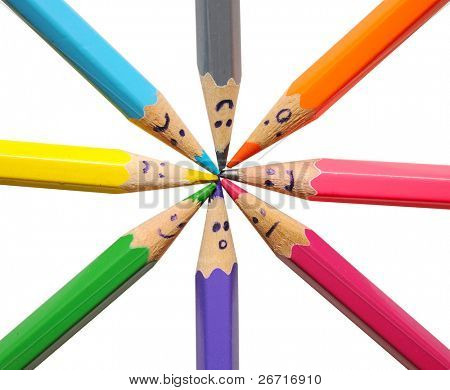 Happy group of pencil faces as social network isolated on white