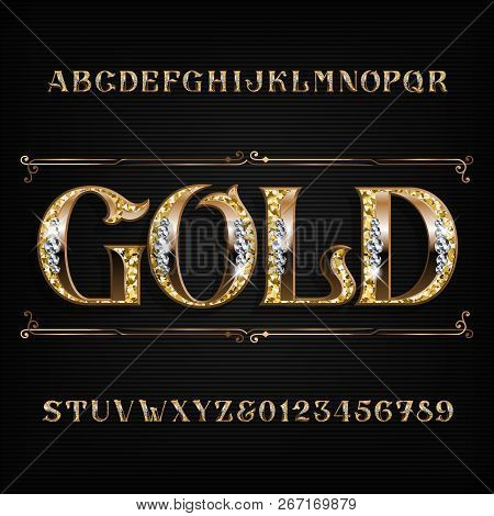 Ornate Gold Alphabet Font. Jeweler Golden Letters And Numbers With Diamond Gemstones. Stock Vector T