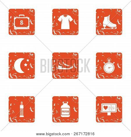 Medical Pulse Icons Set. Grunge Set Of 9 Medical Pulse Vector Icons For Web Isolated On White Backgr