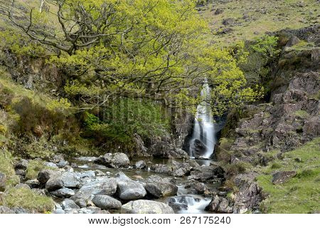 Waterfall On River Esk In The Remote Parts Of Upper Eskdale, Lake District
