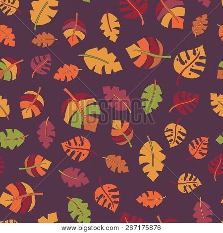 Autumn Leaf Seamless Vector Pattern. Red, Orange, Green, And Yellow Hand Drawn Fall Leaves On Purple