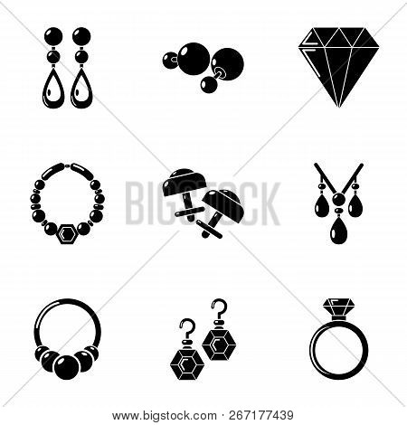 Bijouterie Icons Set. Simple Set Of 9 Bijouterie Vector Icons For Web Isolated On White Background