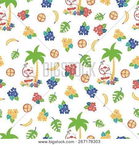 Monkey Toucan Tropical White Blue Red Yellow Seamless Pattern. Great For Kids Market, Fabric Design,