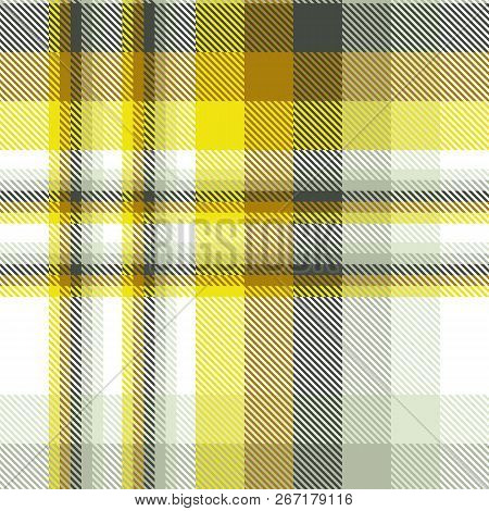 Madras Plaid Pattern In Yellow, Ochre, Black, Gray And White.