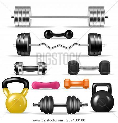 Dumbbell Vector Fitness Gym Weight Equipment Dumb-bells Kettlebell Illustration Bodybuilding Set Of