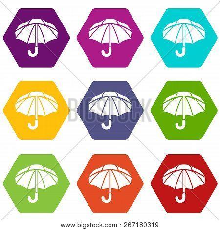 Nylon Umbrella Icons 9 Set Coloful Isolated On White For Web