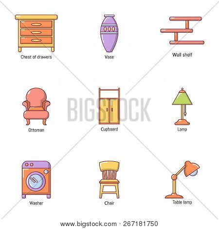 Room Wooden Product Icons Set. Cartoon Set Of 9 Room Wooden Product Vector Icons For Web Isolated On